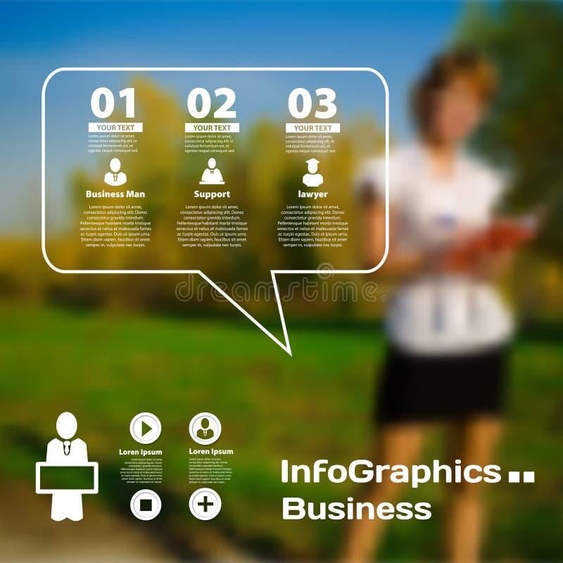 Reeks van infographics op vage fotografische achtergrond vector illustratie