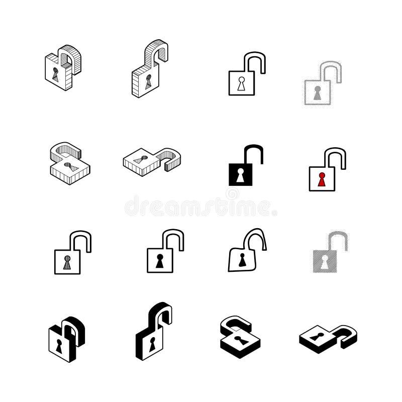 Reeks van Inzamelings moderne vector Het multitype van slotpictogram van 3d isom vector illustratie