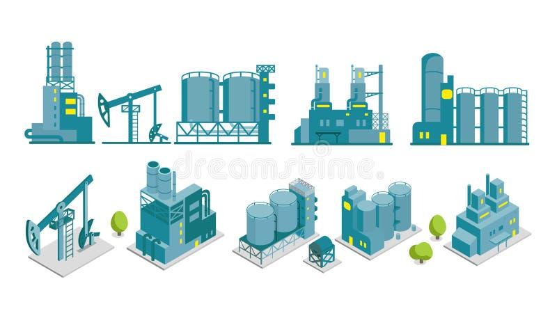 Reeks van isometrische de illustratieolieproductie van de eind 2D fabriek vector illustratie