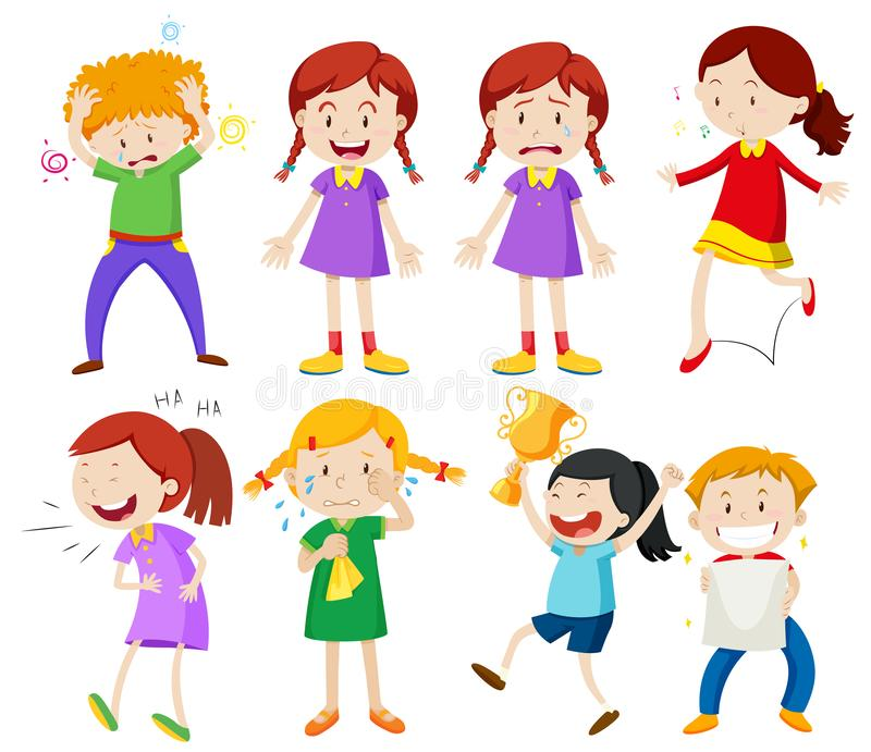 Reeks van jongen en meisjeskarakter vector illustratie