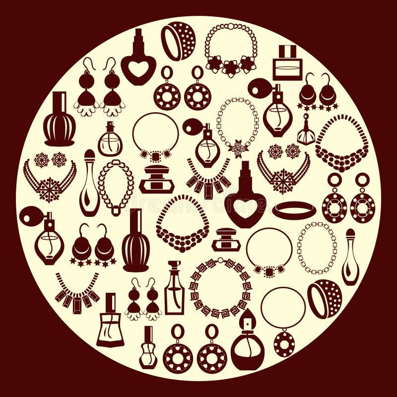 Reeks van Juwelen en parfumpictogrammensilhouet royalty-vrije illustratie