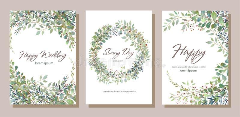 Reeks van kaart met mooie takjes met bladeren Huwelijksornament c royalty-vrije illustratie