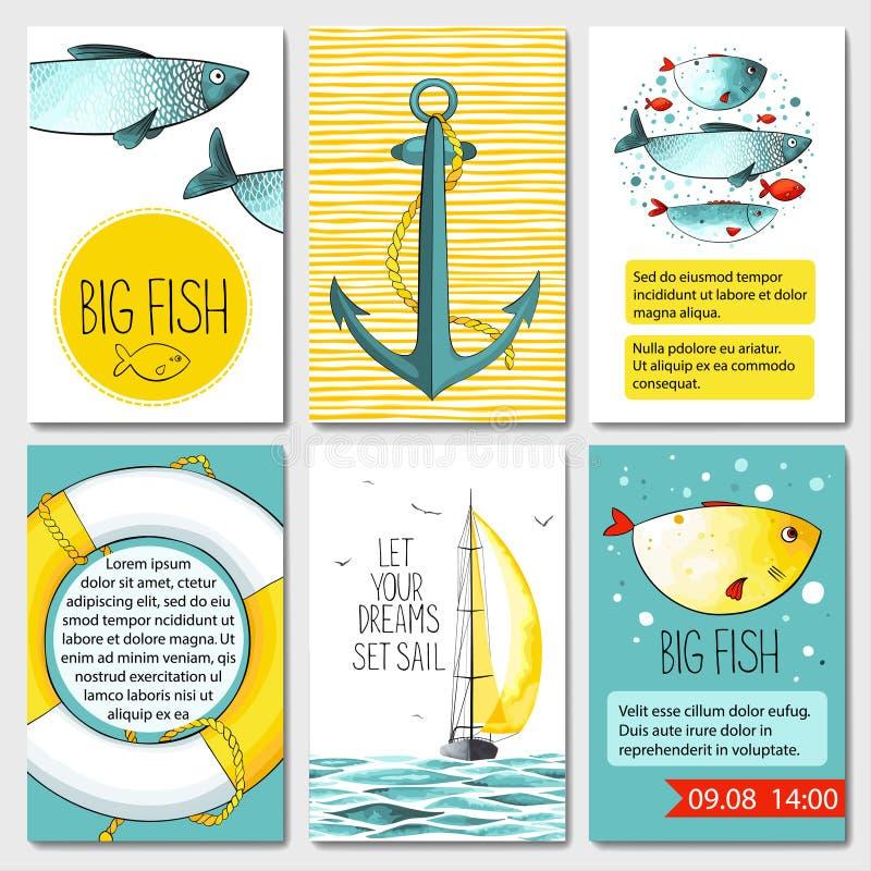 Reeks van 6 kaartenmalplaatjes met overzeese achtergrond stock illustratie