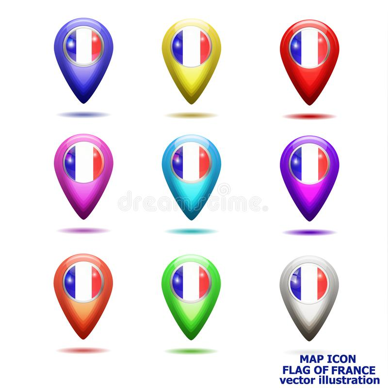 Reeks van kaartpictogram met vlag van Frankrijk Vector illustratie royalty-vrije illustratie