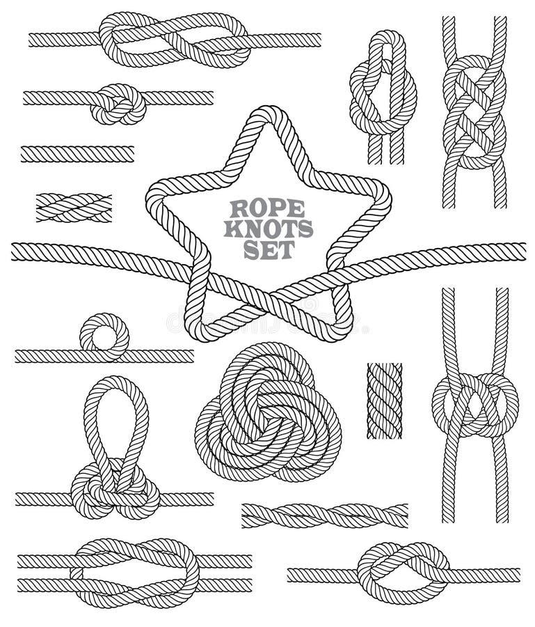Reeks van kabelknopen en deken Naadloze decoratieve elementen Vector illustratie stock illustratie