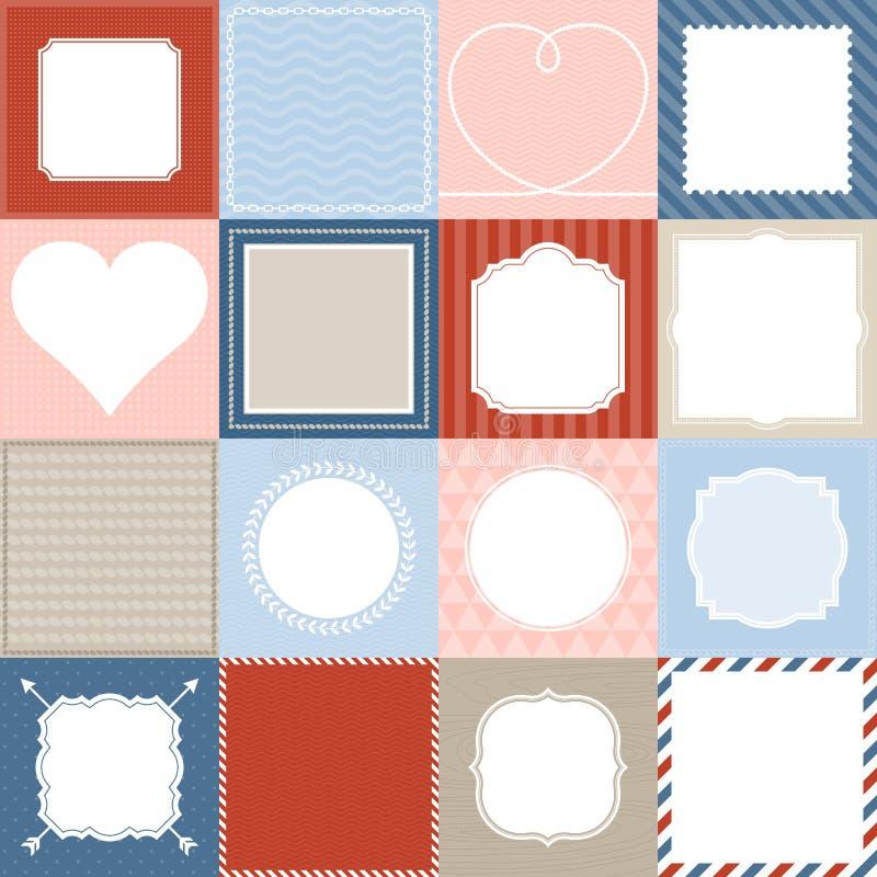 Reeks van kader 16, grenskant en achtergrondontwerp voor mobiele toepassing stock illustratie