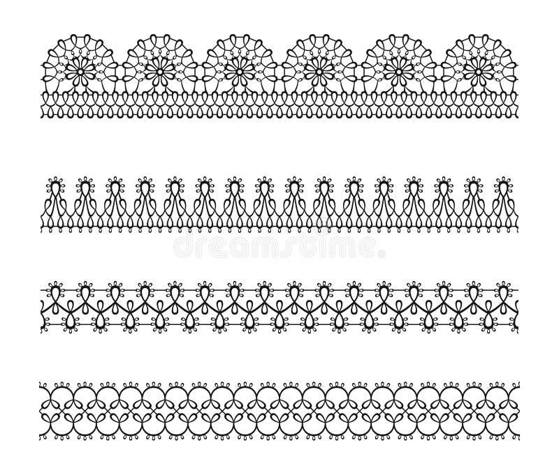Reeks van kant naadloze grens, patroon Zwart wit silhouet elegant decoratief lint stock illustratie
