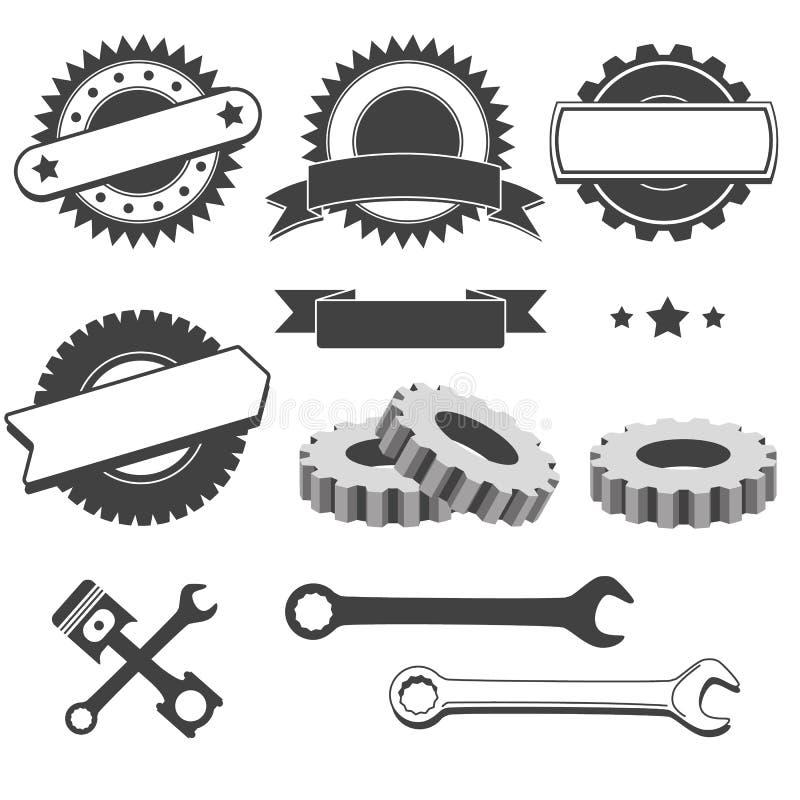 Reeks van kenteken, embleem, logotype element voor werktuigkundige, garage, autoreparatie, de autodienst royalty-vrije illustratie