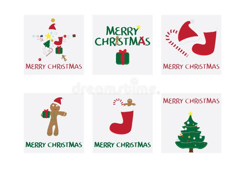 Reeks van 6 Kerstkaarten Vrolijke Kerstkaart met vectorillustraties De markeringen van Kerstmisgiften stock illustratie