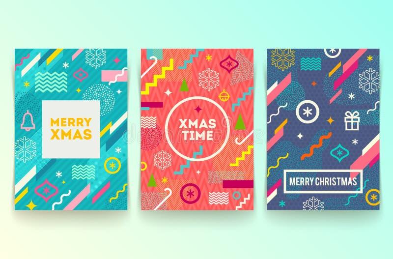 Reeks van Kerstmis abstracte achtergrond royalty-vrije illustratie