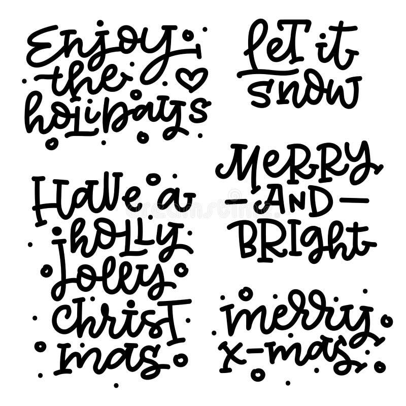 Reeks van Kerstmis het van letters voorzien Vrolijke Kerstmis Vrolijk en Helder Heb Holly Jolly Christmas Laat het sneeuwen Genie royalty-vrije illustratie