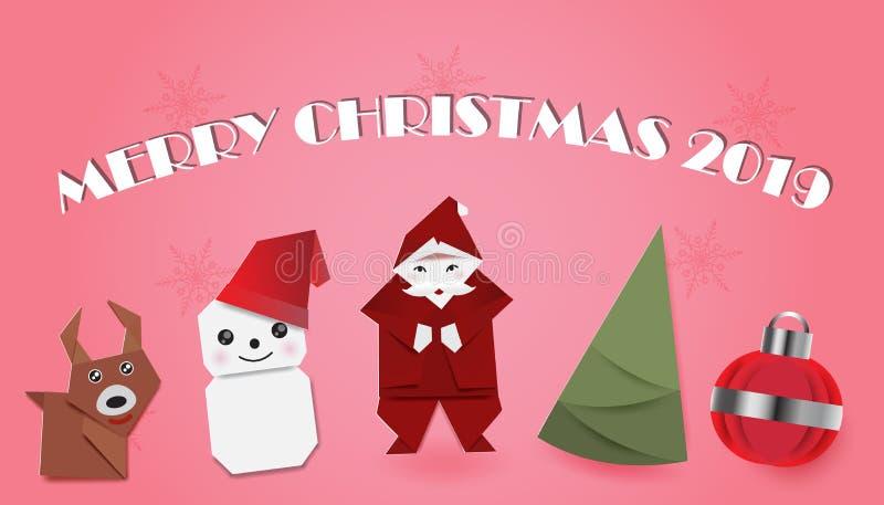 Reeks van Kerstmis op roze achtergrond vector illustratie