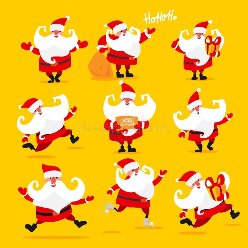 Reeks van Kerstmis Santa Claus vector illustratie