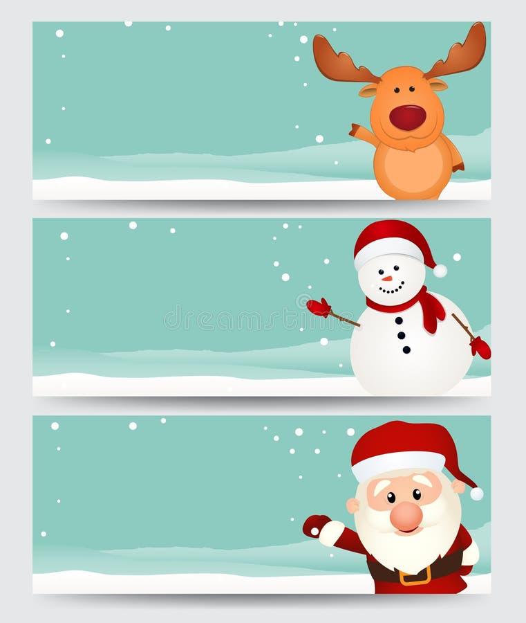 Reeks van Kerstmisbanner. met santa, rendier en sneeuwman stock illustratie