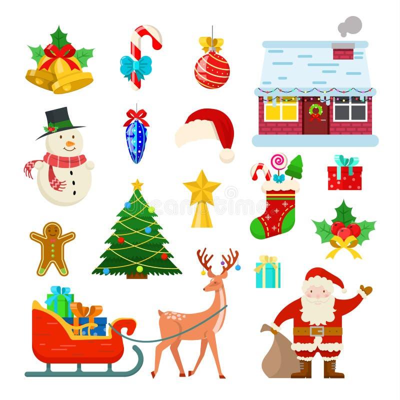 Reeks van Kerstmisdecoratie vector illustratie