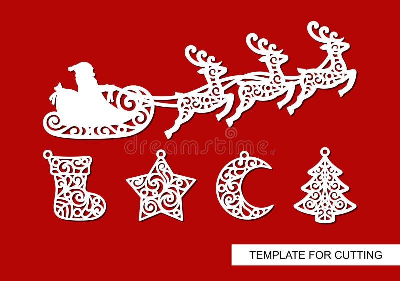 Reeks van Kerstmisdecoratie Silhouetten die van Santa Claus in een ar met rendieren, sok, ster, halve maan en boom vliegen royalty-vrije illustratie