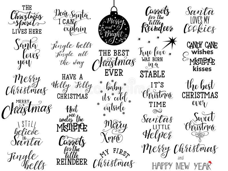 Reeks van 25 Kerstmishand het van letters voorzien citaten aan groetkaart, banner, affiche, kalligrafie vectorillustratie stock illustratie