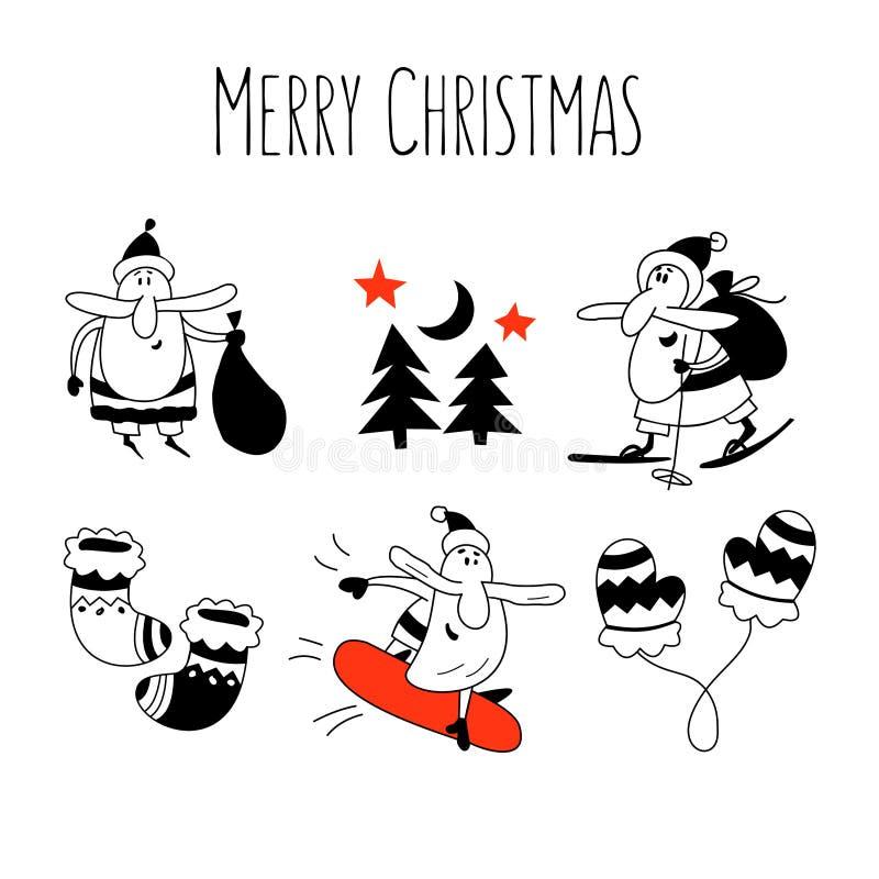 Reeks van Kerstmisillustratie met Santa Claus royalty-vrije illustratie