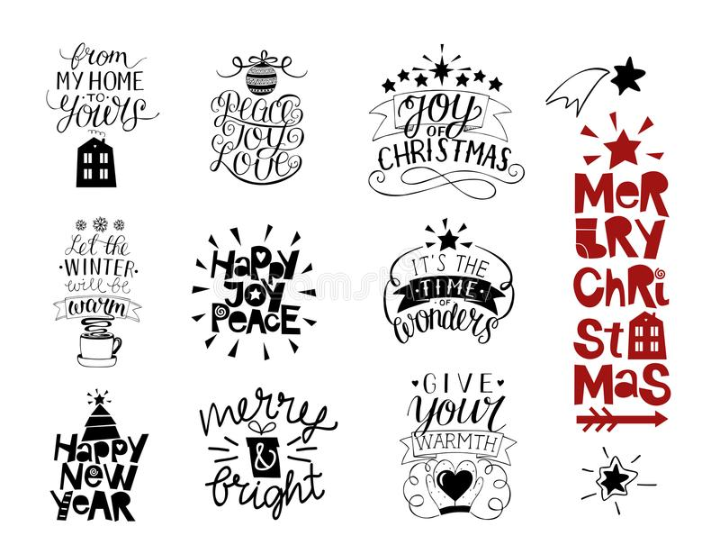 Reeks van 10 Kerstmisinschrijvingen met het van letters voorzien Gelukkig Nieuwjaar Vreugde, liefde, vrede Vrolijk en Helder Van  royalty-vrije illustratie