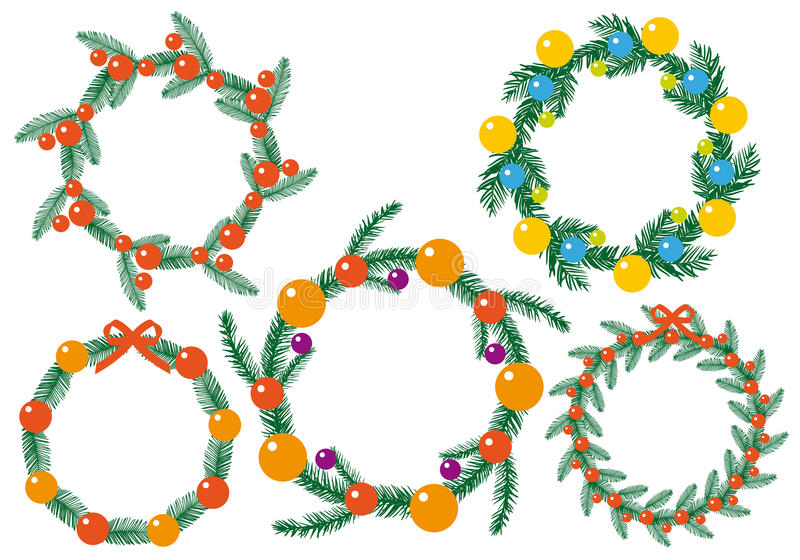 Reeks van Kerstmiskroon stock illustratie