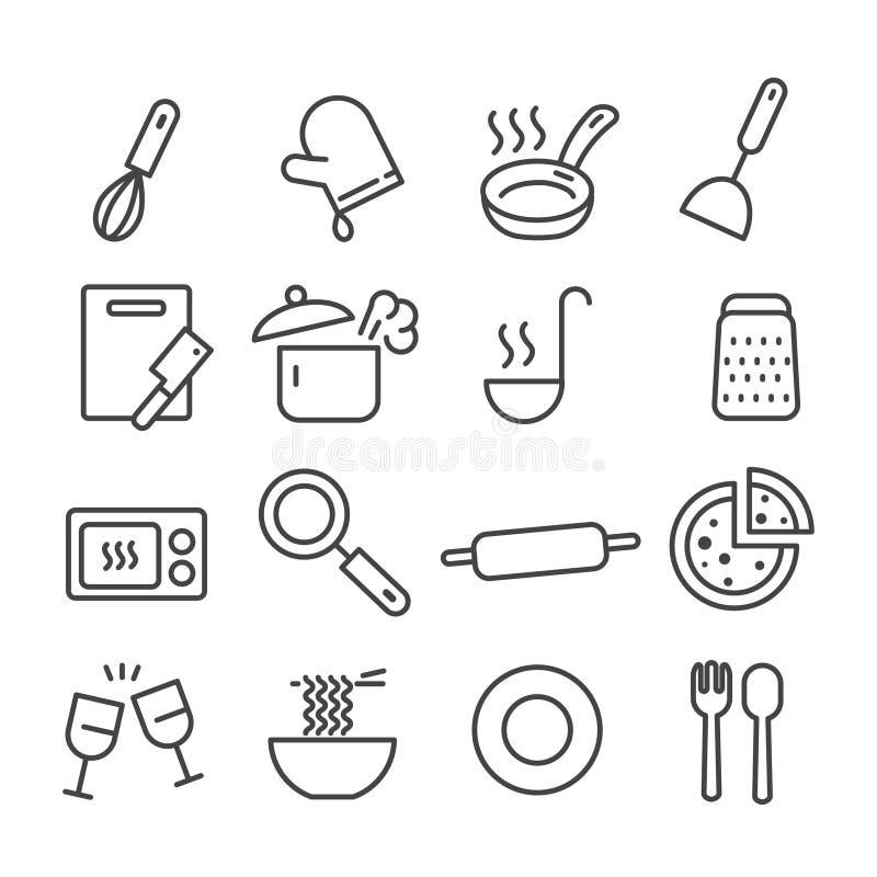 Reeks van keukengerei zoals scherpe raad, geïsoleerd deegrolpictogram Modern overzicht op witte achtergrond stock illustratie