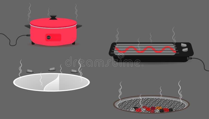 Reeks van keukenmateriaal met panboilerbroodrooster illustratie eps10 stock illustratie