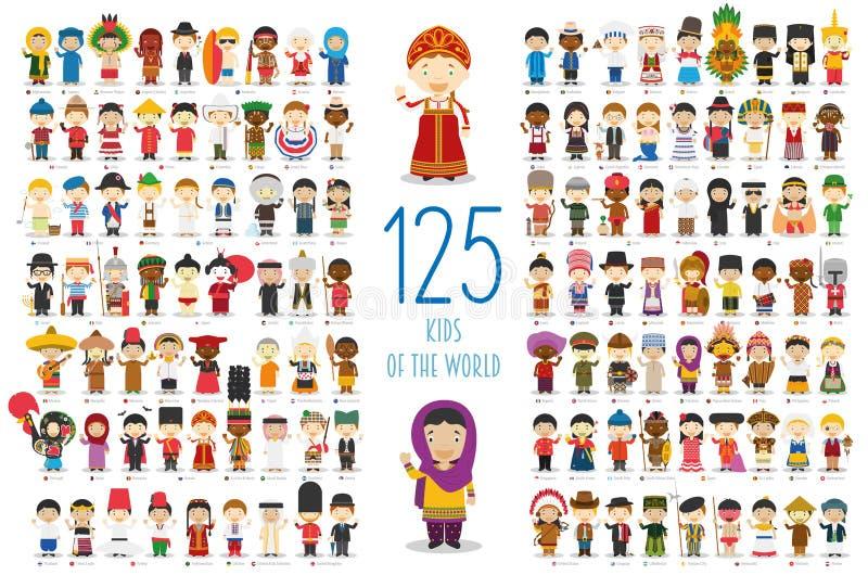 Reeks van 125 kinderen van verschillende nationaliteiten in beeldverhaalstijl