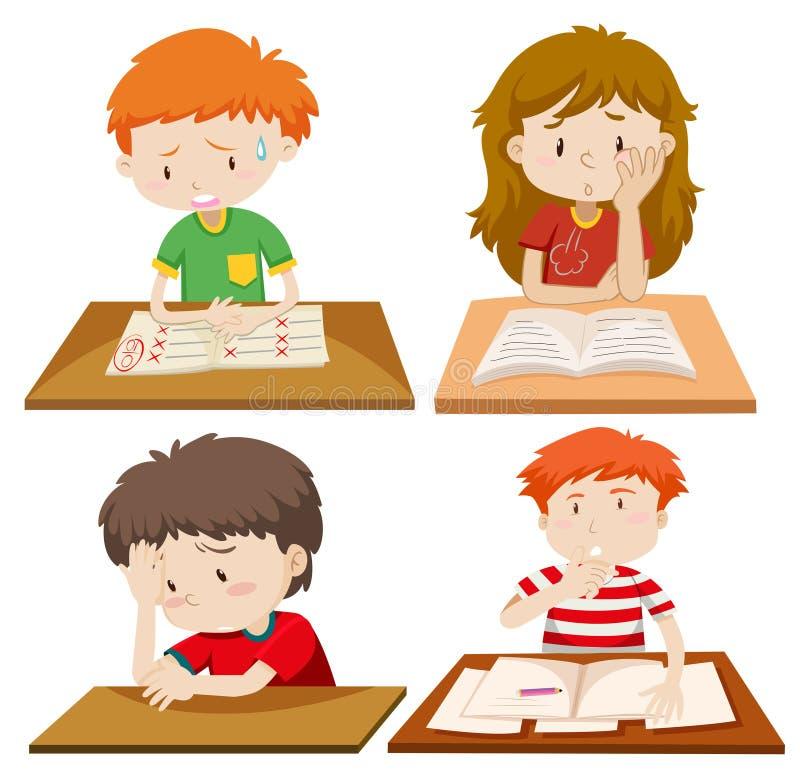 Reeks van kinderenstudie royalty-vrije illustratie