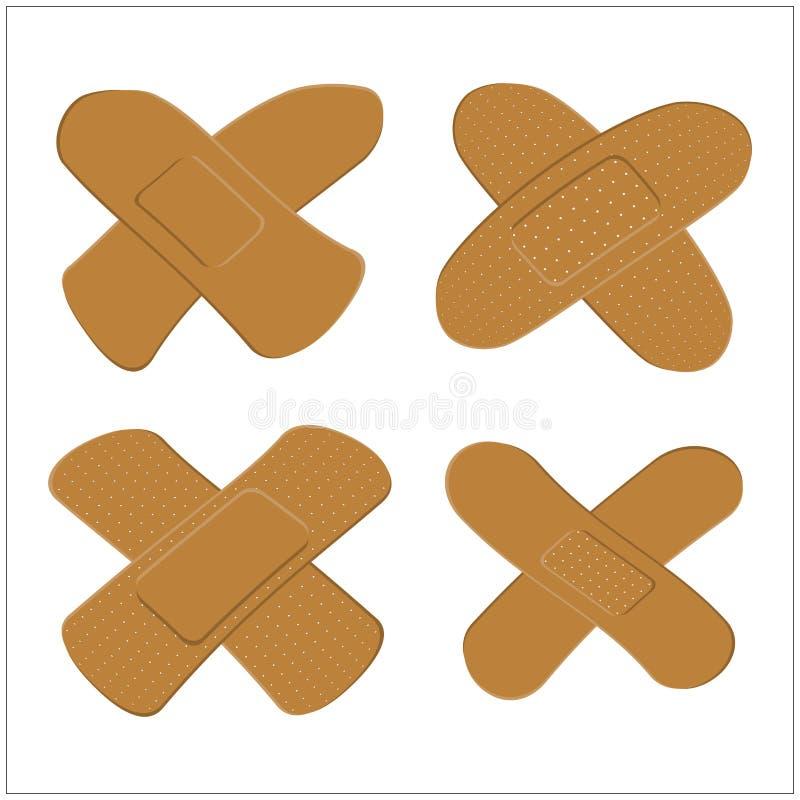 Reeks van Kleefstof, pleister voor donkere huid Medisch verband in verschillende vorm Vector illustratie vector illustratie