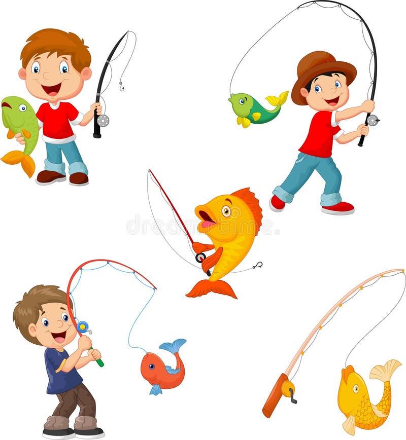 Reeks van kleine jongens visserij vector illustratie