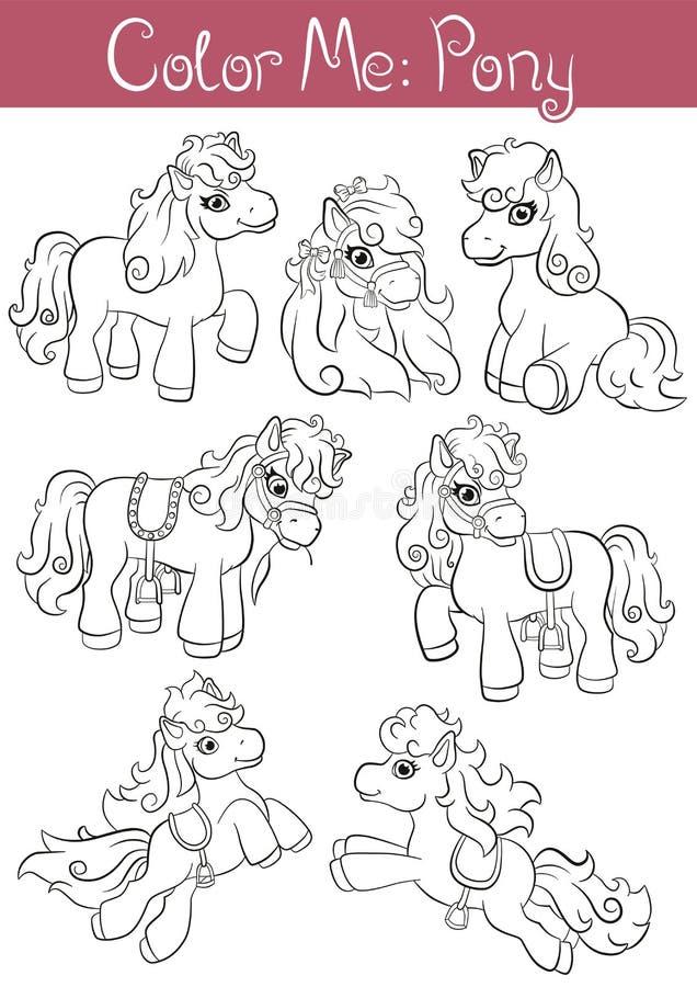 Reeks van kleine leuke poney zeven vector illustratie