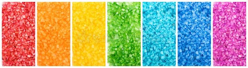 Reeks van kleuren overzees zout, regenboogbanners stock afbeelding