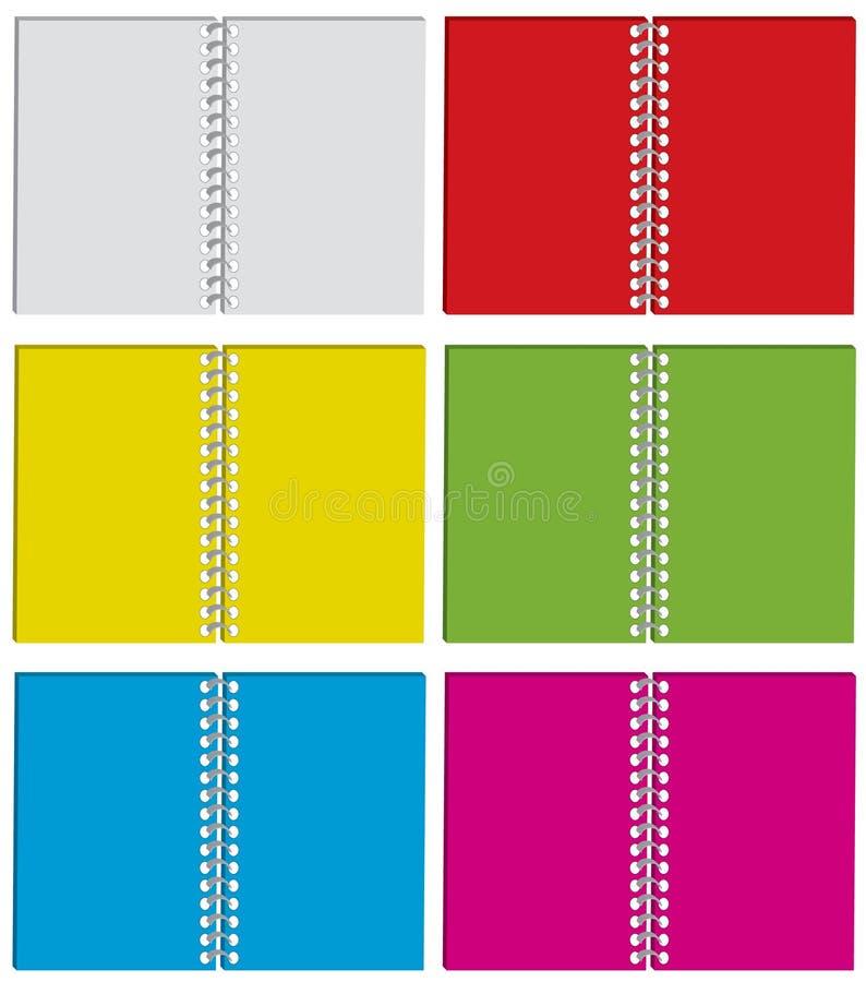 Reeks van kleurenblocnote stock illustratie