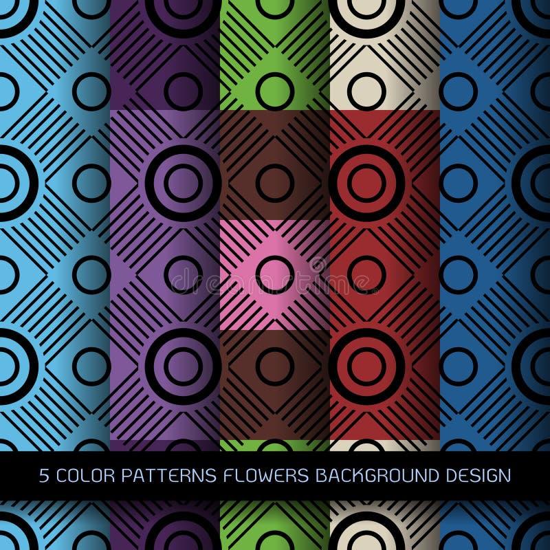 Reeks van 5 kleurenpatronen met bloemen en abstracte decoratieve Gr vector illustratie