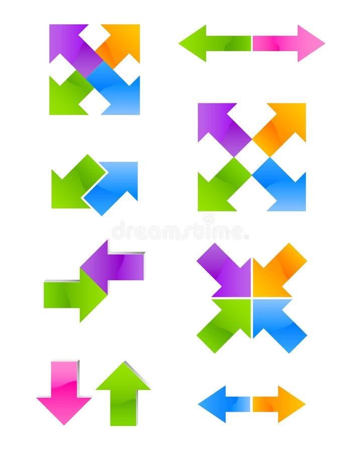 Reeks van kleurenpijl stock illustratie