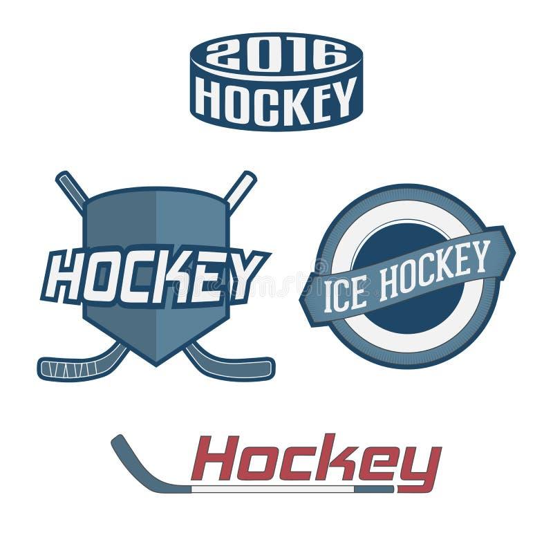 Reeks van kleurrijk Hockey Team Labels vector illustratie