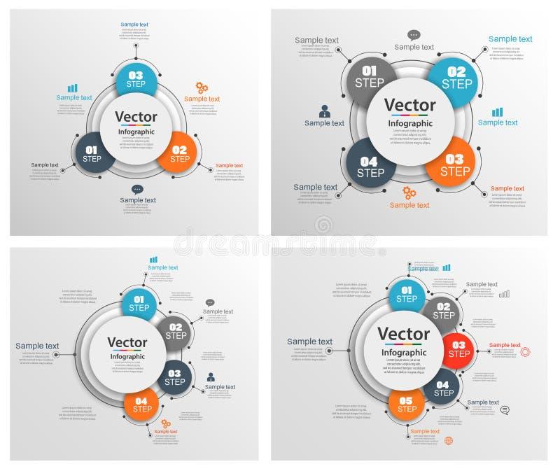 Reeks van kleurrijk Infographic-ontwerp Abstract de optiesmalplaatje van het infographicsaantal met stappen vector illustratie