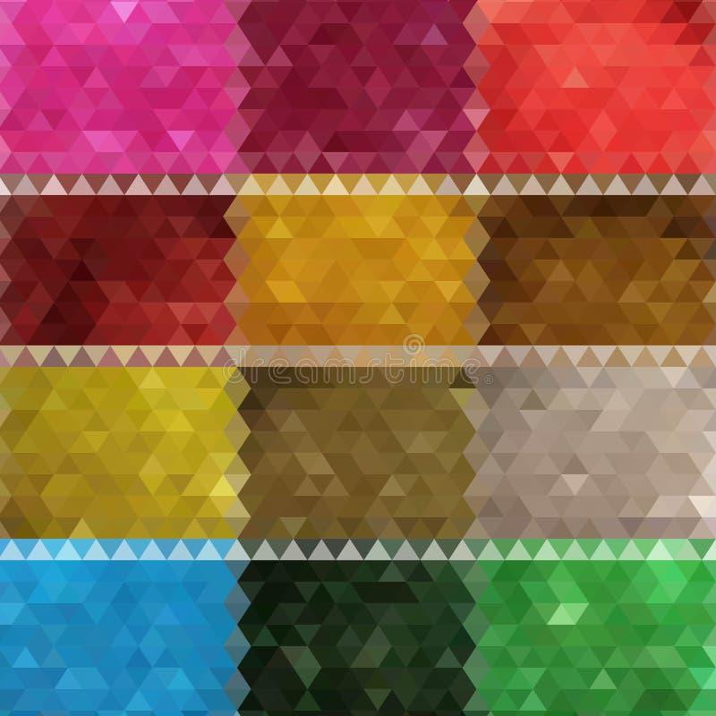 Reeks van kleurrijke abstracte geometrische achtergrond vier met driehoekige veelhoeken Kleurrijk moza?ek van driehoek Eps 10 royalty-vrije illustratie