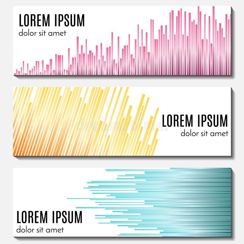 Reeks van kleurrijke abstracte kopbalbanners met equalisers en plaats voor tekst royalty-vrije illustratie