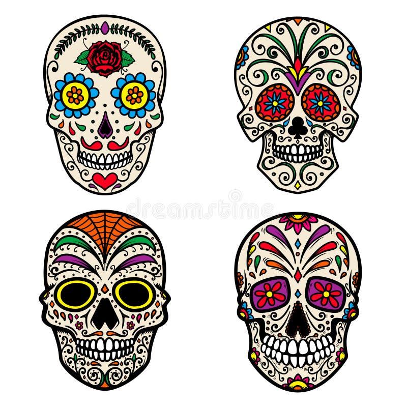Reeks van kleurrijke die suikerschedel op witte achtergrond wordt geïsoleerd Dag van de Doden Dia DE Los Muertos Ontwerpelement v royalty-vrije illustratie