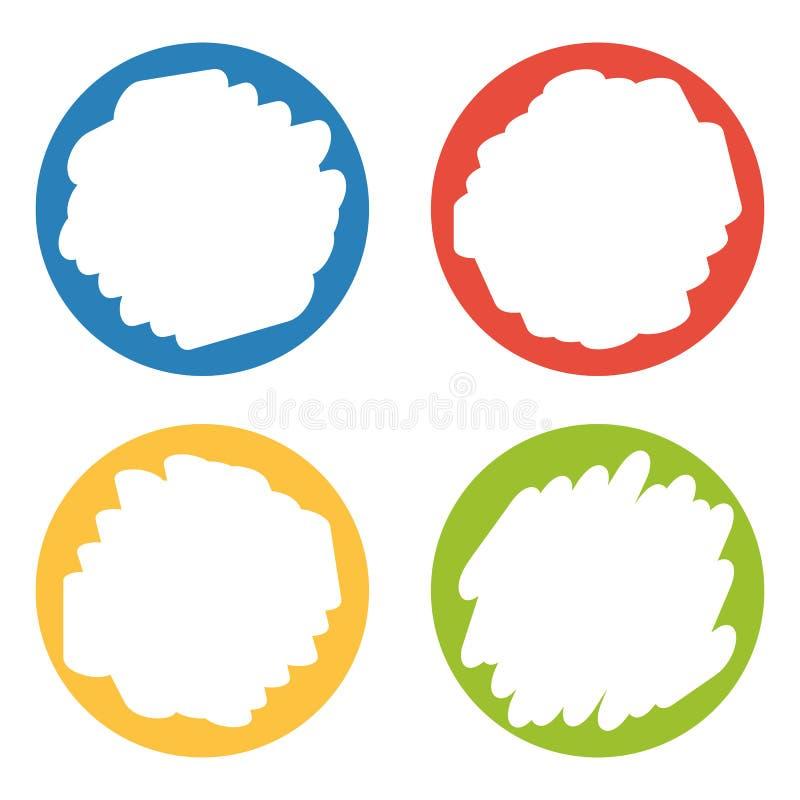 Reeks van 4 kleurrijke kentekens met hand gewist centrum vector illustratie