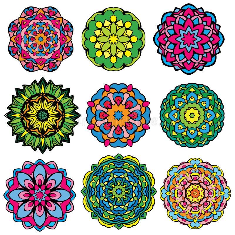 Reeks van 9 kleurrijke ronde ornamenten, caleidoscoop bloemen vector illustratie