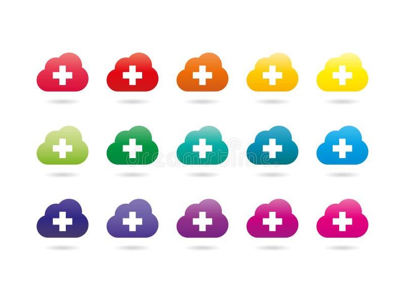 Reeks van kleurrijke van de de wolkenserver van het regenboogspectrum de tekensinzameling vector illustratie