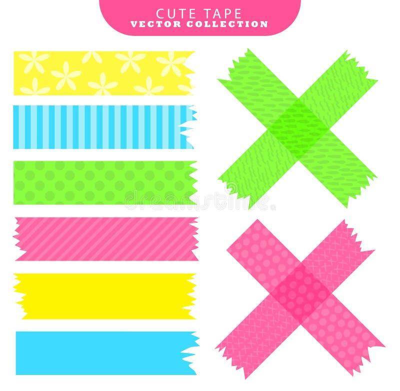 Reeks van kleurrijke washiband met verschillende patronen Vector illustratie royalty-vrije illustratie