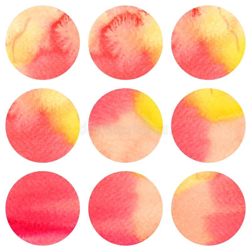 Reeks van kleurrijke waterverf 9 om vlekken stock illustratie