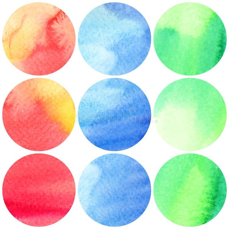 Reeks van kleurrijke waterverf 9 om vlekken vector illustratie