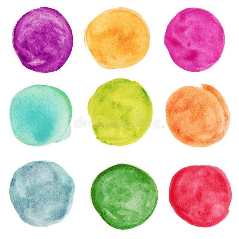 Reeks van kleurrijke waterverfcirkel. Ontwerp elemnts royalty-vrije stock afbeelding