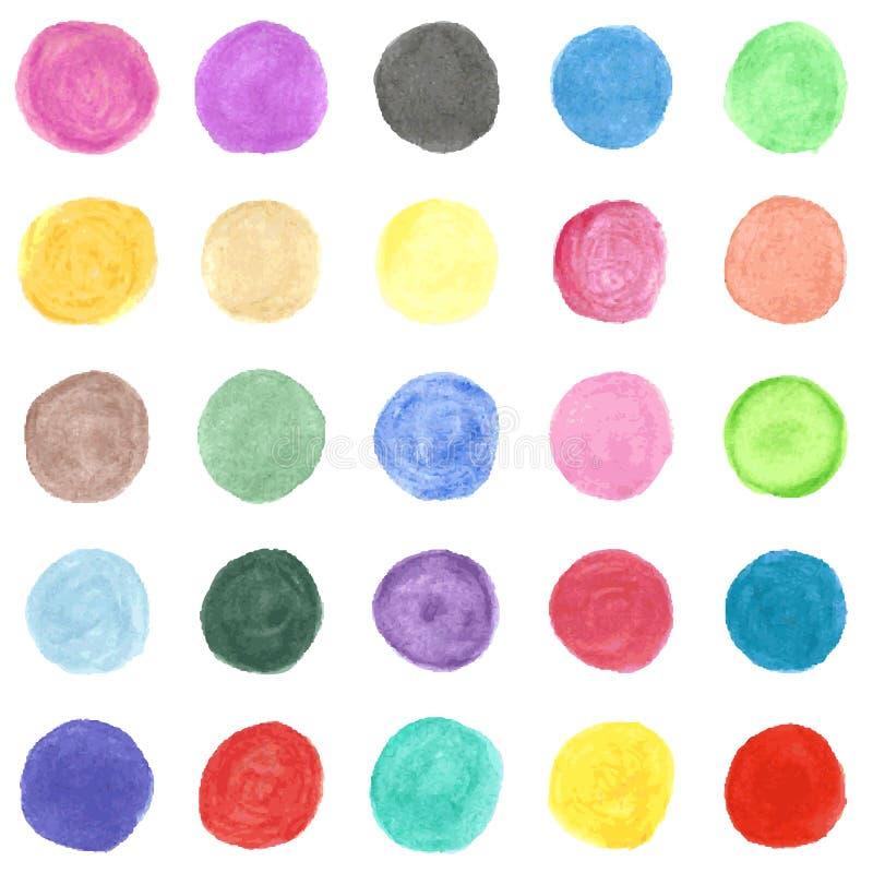 Reeks van kleurrijke waterverfhand geschilderde cirkel. stock illustratie