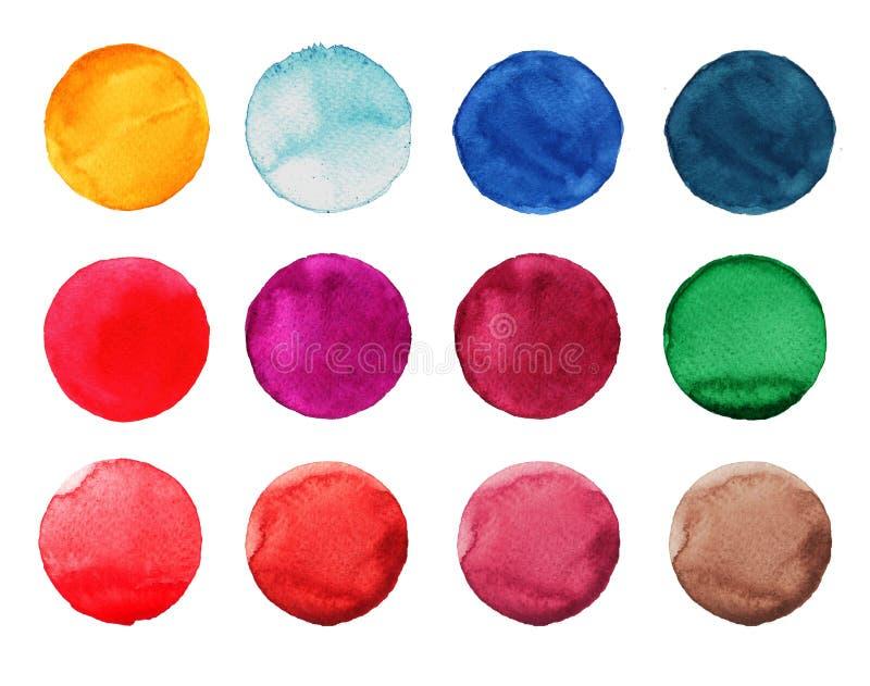 Reeks van kleurrijke waterverfhand geschilderde cirkel op wit Illustratie voor artistiek ontwerp Ronde vlekken, rood vlekkenblauw stock illustratie