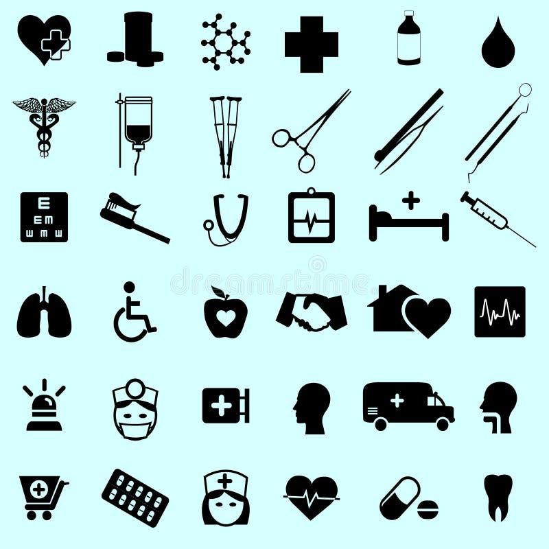 Reeks van kliniek medisch en gezond pictogram vector illustratie